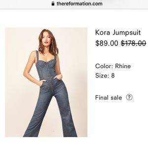 Reformation jean jumpsuit